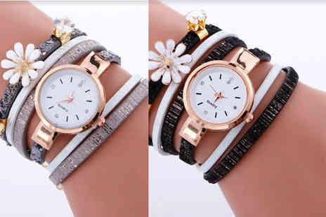 Solo Act - Daisy crystal wrap watch choose black, white or grey - Save 63%