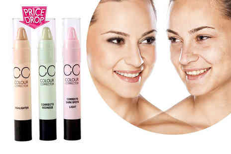 GetGorgeous - Three colour corrector sticks in pink, mint and yellow - Save 77%
