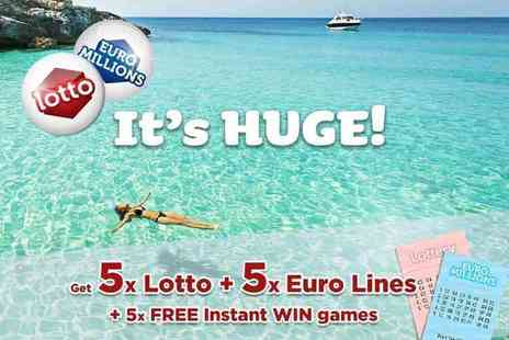 Hatchster - Five syndicated EuroMillions and five Lotto lines plus five instant win games with chances for an up to £7k win from Lotto Social - Save 75%