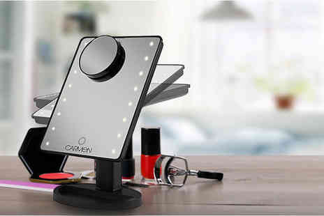 Deals Direct - LED illuminated cosmetic mirror with small magnifying application mirror - Save 54%