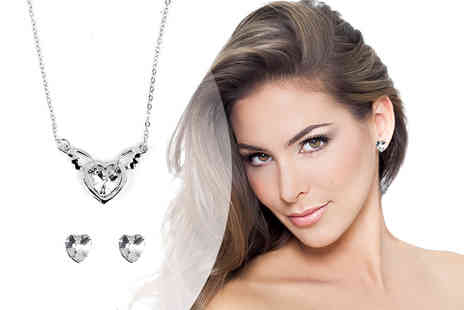 Solo Act - Crystal winged heart jewellery set - Save 76%