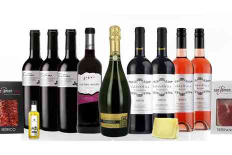 San Jamon - Nine Bottles of Mixed Wine with Ham, Chorizo, Cheese and Olive Oil - Save 53%