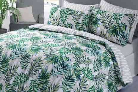 Groupon Goods Global GmbH - Single, Double, King or Super King Tropical Floral or Palm Leaf Duvet Set - Save 63%