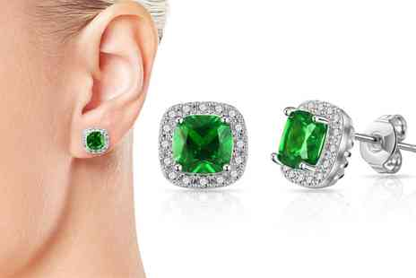Groupon Goods Global GmbH - One or Two Pairs of Philip Jones Synthetic Emerald Square Halo Earrings - Save 85%