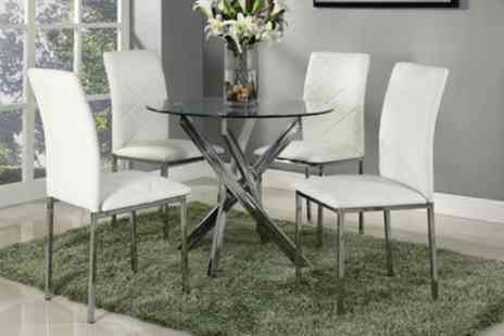 Groupon Goods Global GmbH - Round Glass Dining Table and Chairs With Free Delivery - Save 72%