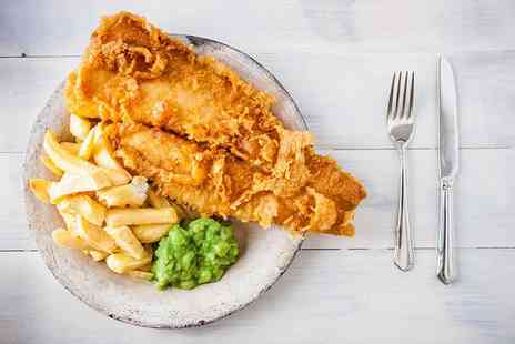 Blue Eyed Maid - Fish and chips meal for two with a glass of wine or beer each - Save 61%