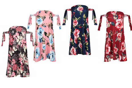 Be Jealous - Floral tie sleeve tunic dress - Save 66%