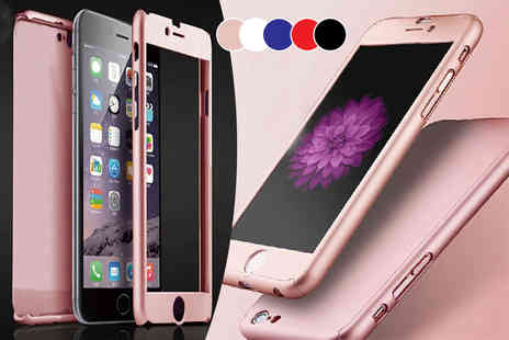 Planet of Accessories - Full body iPhone cover with a tempered glass screen protector choose from seven colours - Save 79%