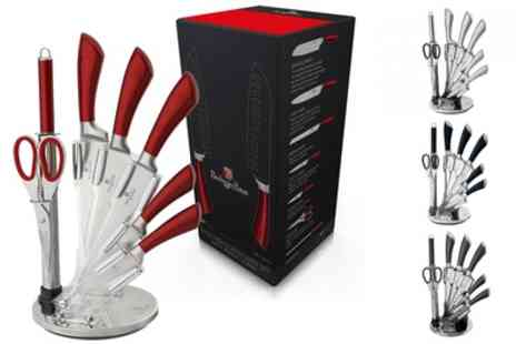 Groupon Goods Global GmbH - Eight Piece Stainless Steel Knife Block Set - Save 76%