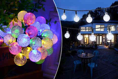 Boom Deals - 5m Solar Powered Crackle String Lights in 2 Colours - Save 78%