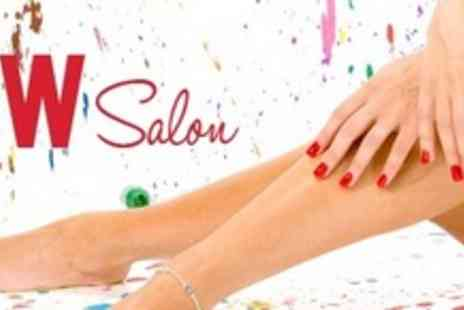 W Salon - Manicure and Pedicure With Gel Polish - Save 64%