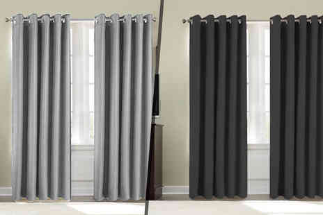 Groundlevel - Pair of thermal blackout curtains choose from five sizes in nine gorgeous colours - Save 75%