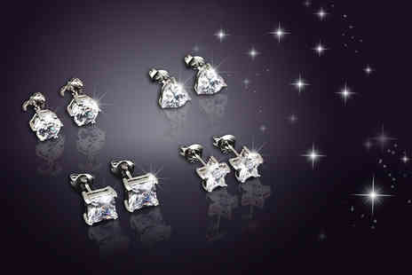 Evoked Design - Four pairs of crystal earrings choose from three colours, get four different cuts - Save 94%