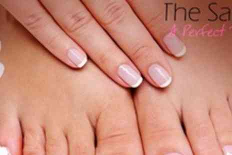 A Perfect Touch - French or Glitter Acrylic Nails With Pedicure and Mini Manicure - Save 62%