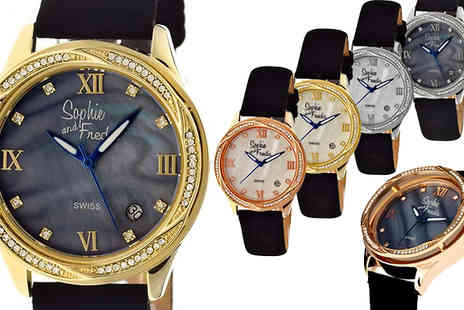 Ideal Deal - Sophie And Freda Los Angeles Mother of Pearl Swiss Watch Available in 6 Colours - Save 86%