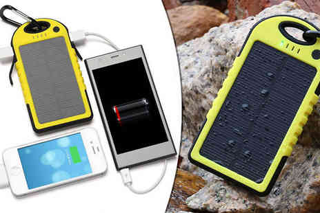 TigerZilla Trading - Waterproof Solar Power Bank with Dual Usb Output - Save 70%