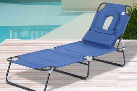 Mhstar - Adjustable Sun Lounger With Pillow Available in 2 Colours - Save 75%