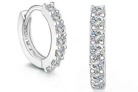 Van Amstel diamond - Sterling Silver Crystal Embellished Hoop Earrings - Save 88%