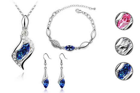 Fakurma - White Gold Coloured Simulated Crystal Drop Tri Set Choose 3 Colours - Save 92%