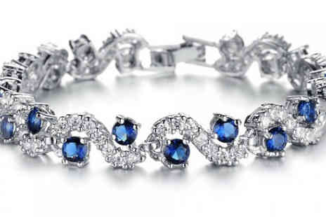 Fakurma - Simulated Sapphire and Zirconia Tennis Bracelet - Save 84%
