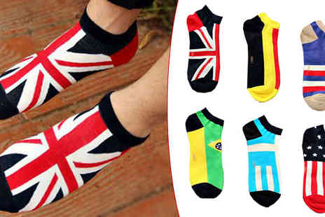 Black Sheep - Six Pack of Mens Flag Ankle Socks One Or Two - Save 47%