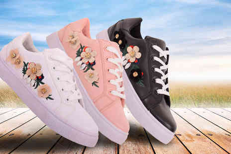 Solewish - Pair of floral embroidered trainers choose from pink, white or black - Save 38%