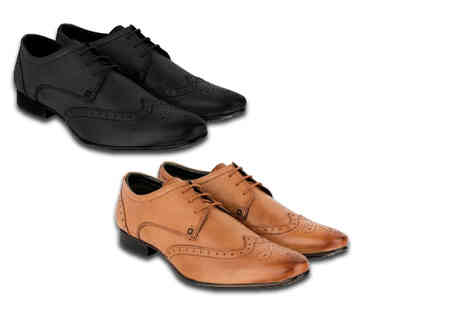 Woodland Leathers - Pair of mens leather brogues choose from two styles and three colours - Save 67%