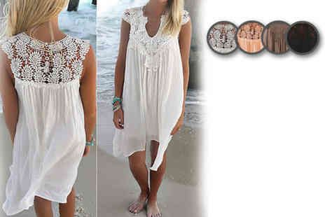 Bluebell Retail - Crochet floaty beach dress choose from three colours - Save 71%