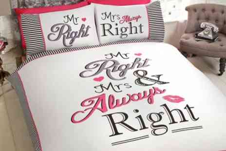 Groupon Goods Global GmbH - Rapport Home Mr and Mrs Right Duvet Cover Set - Save 62%