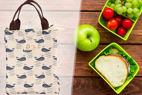 homelounge - Canvas Whale Print Thermal Lunch Bag - Save 80%