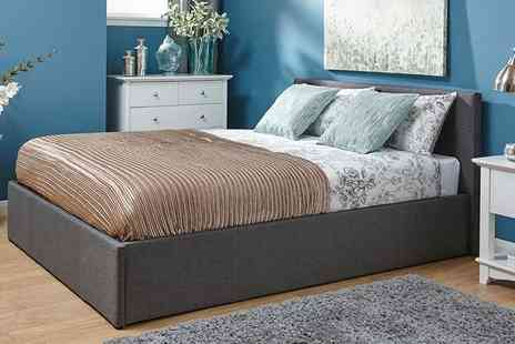 FTA Furnishing - Grey fabric side lift ottoman storage bed include a memory foam mattress - Save 62%