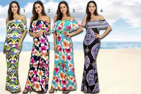 Be Jealous - Off shoulder ruffled maxi dress choose from four colours - Save 74%