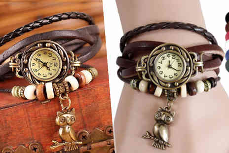 Fakurma - Classic Vintage Owl Charm Bracelet Watch Available in 6 Colours - Save 92%