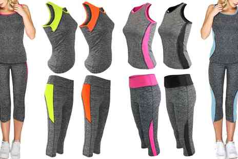 Groupon Goods Global GmbH - Womens Top and Leggings Contrast Activewear Set - Save 0%