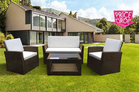 Evre - Four piece Roma rattan garden furniture set with cushions, with a limited number available - Save 75%