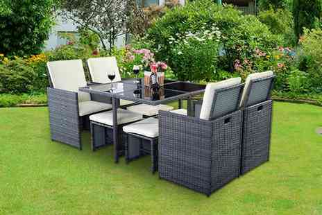 FDS Corporation - Nine piece rattan garden furniture dining set - Save 60%