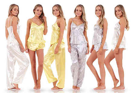 Eurotrade - Ladies three piece satin pyjama set - Save 67%