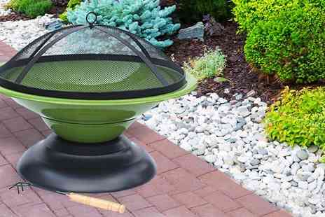 Funky Buys - Large Lime Green Enamelled Firepit - Save 64%