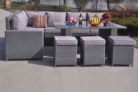 Dreams Living - Nine seater rattan dining sofa set - Save 48%