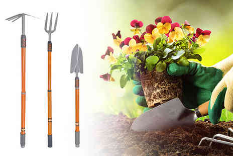 Tooltime - Set of three telescopic gardening tools - Save 59%