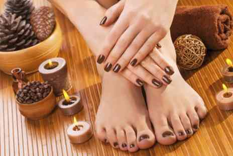 Val Beauty Hair Nails - Shellac Manicure with Optional Shellac Pedicure - Save 45%