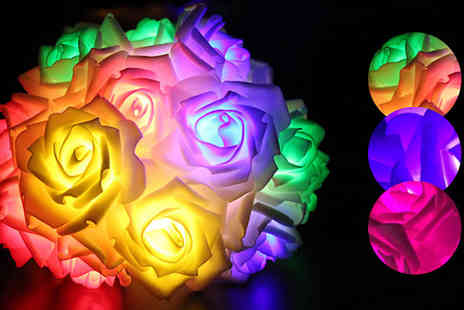Boom Deals - 20 Led Rose Flower String Lights Available in 3 Colours - Save 83%