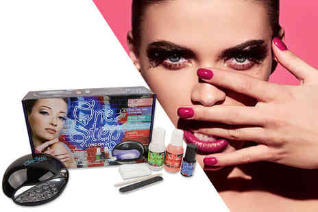 Best of the UK - London one step starter UV gel nails kit with shocking pink UV gel colour - Save 80%