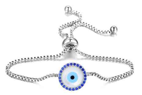 Groupon Goods Global GmbH - One or Two Philip Jones Mother Of Pearl Evil Eye Friendship Bracelets with Crystals from Swarovski - Save 80%