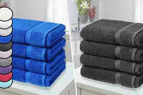 Groundlevel - 4 Egyptian Cotton Bath Sheets Choose 10 Colours - Save 81%