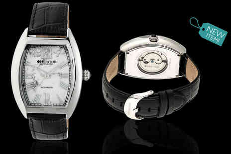 Idealdeal - Mens Heritor Baron automatic marble dial watch choose from four designs - Save 86%