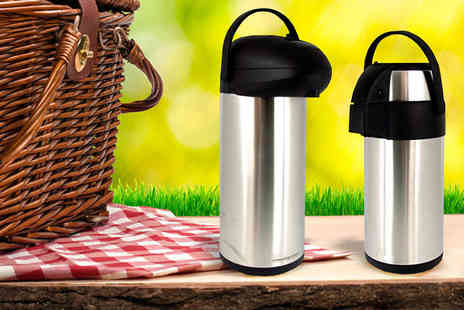 Direct 2 public - Insulated Pump Action Drinks Flask Available In Two Sizes - Save 70%