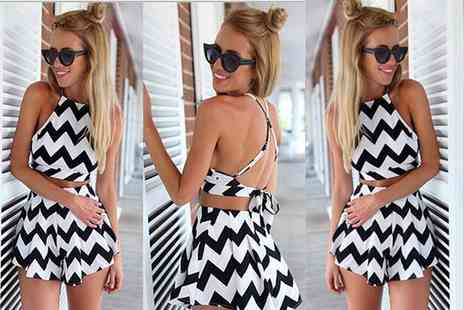 Bluebell Retail - Black and white zig zag print co ord set - Save 67%