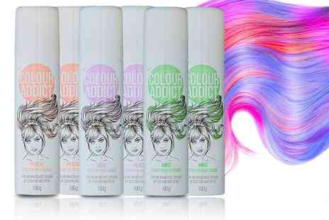 GB Gifts - Two bottles of Colour Addict Spray In Hair Chalk choose mint, peach or lilac - Save 50%