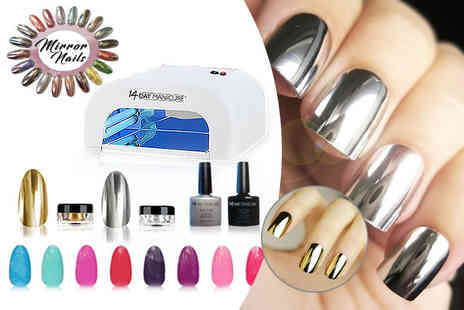 14 Day Manicure - Nail bundle including UV lamp and mirror powder in 2 or 4 colours - Save 81%